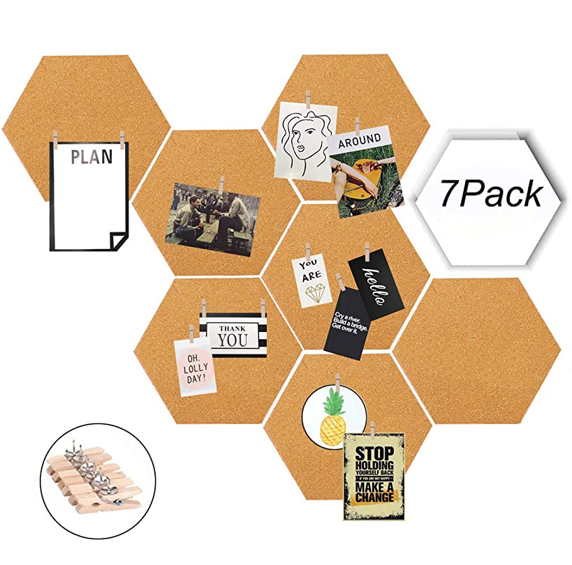 Moi Doi Wall Decor,Bulletin Board, Pin Board, Cork Tiles,Hexagon Cork Board with Adhesive Backing Memo Boards Message Board for Office/Home/Kitchen/Dorm Room,7 Pack +30 PINS