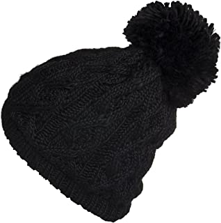 Polar Extreme Women's Insulated Thermal Slouchy Beanie Hats with Pom Pom Cable Knit
