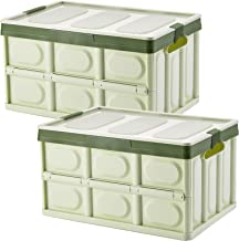 Lidded Storage Bins 2 Pack 30L Collapsible Storage Box Crates Plastic Tote Storage Box Container Stackable Folding Utility...
