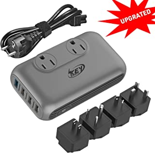 Key Power Step Down 220V to 110V Voltage Converter and International Travel Adapter, for CPAP, Hair Clippers, Hair Straightener, Curling Iron, Laptop - [Use USA Appliance Overseas in 260+ Countries]