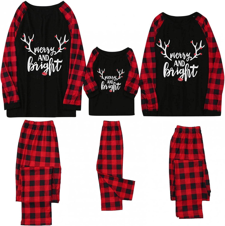 Christmas Pajamas for Family 2021 Pjs Matching Sets Merry Christmas Printed PJs Xmas Loungewear Sleepwear