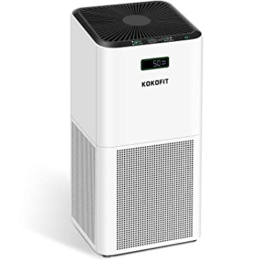 KOKOFIT Air Purifier for Home,CADR 320 H13 True HEPA Filter Purifiers Up to 710 Sq.Ft. Quiet Filtration Cleaner for Allergies Pets Remove 99.97% Odors Smoke Dust Mold Pollen in Bedroom Large Room,White