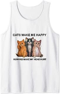 Cats Make Me Happy Humans Make My Head Hurt Gift Tank Top