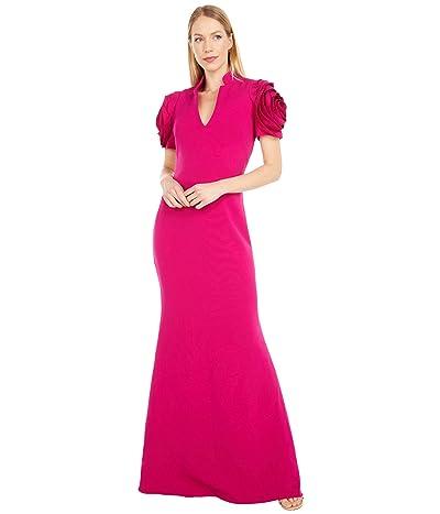 Badgley Mischka Rosette Sleeve Gown (Raspberry) Women