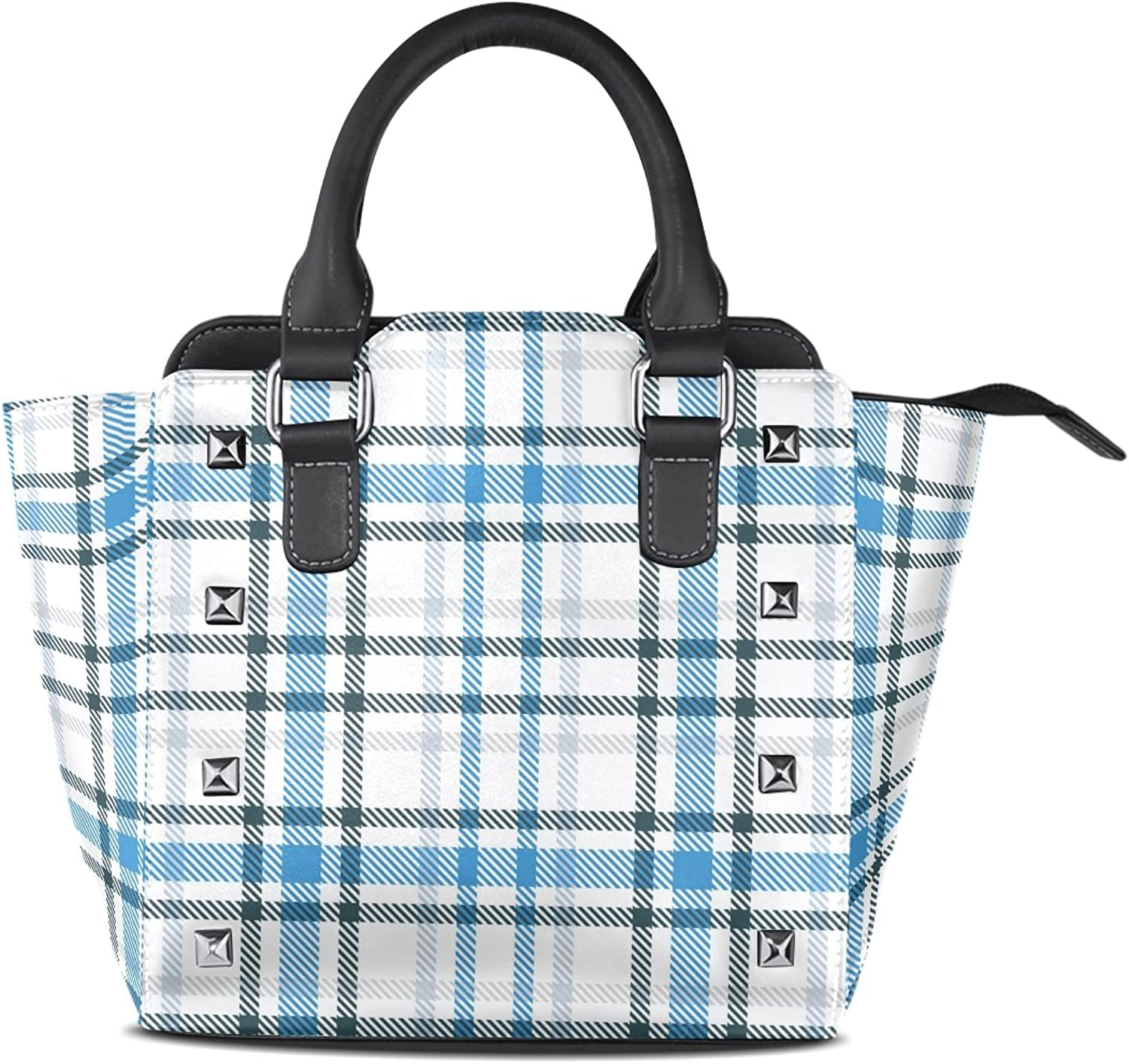 My Little Nest Women's Top Handle Satchel Handbag Fashion bluee and White Tartan Ladies PU Leather Shoulder Bag Crossbody Bag