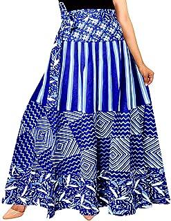 jwf Women's Cotton Regular Fit Leheriya Printed Long Skirt (SK_241, Multicolour, Free Size)