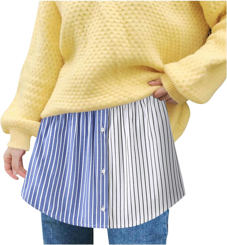 Daringjourney Women s Shirt Extender Skirt Hem Lower Sweep Half Slip Mini Underskirt Adjustable Layering Fake Top Half-Length Skirt Petticoat Skirt Lower Sweep Shirt