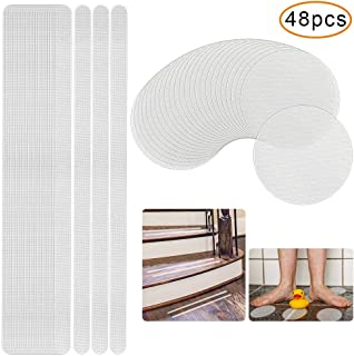 Tailiand 48pcs Non Slip Bathtub Stickers, Adhesive Bath Treads Safety, Anti Slip Showers Stickers Strips for Tubs, Bathrooms, Stairs (Clear)