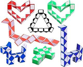 Herefun 10 Pezzi 24 Blocchi Cubi di Serpente Magico Twistato Mini Cubo Velocità, Giocattoli Educativi per Bambini, Colori ...
