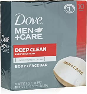 Dove Men+Care Body and Face Bar To Hydrate Skin Deep Clean More Moisturizing Than Bar Soap 3.75 oz 10 Bars