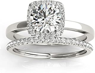 Custom Design Diamond Halo Solitaire Bridal Set Setting in Palladium from Allurez (0.20ct)