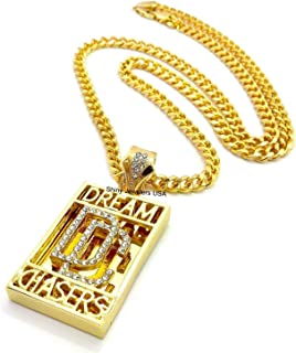 Shiny Jewelers USA Mens ICED Out Dream Chasers Pendant Cuban,Rope,Box Chain Necklace Hip HOP