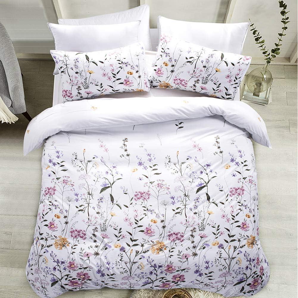 Carisder Full Queen Duvet Cover Floral Award-winning store Comforter Soft Gifts White Set