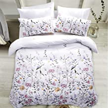 Carisder Full/Queen Duvet Cover Set Floral Soft White Comforter Cover Set 3 Pieces Bedding Sets (Floral Queen)