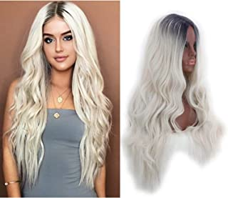 Women Long Curly Wave Wigs Synthetic Full Ombre Medium Split Wigs Brown Root White Blonde for Party Halloween Cosplay and Daily Use (Gold)