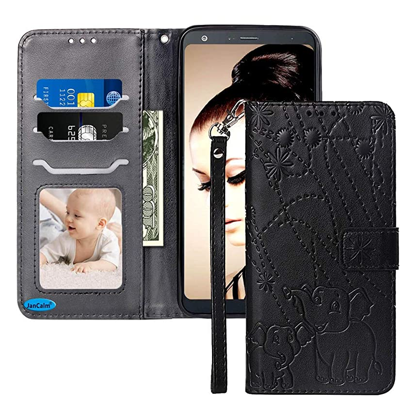 JanCalm for LG Stylo 4 Case New Elephant/Flower Pattern PU Leather Wallet 360 Protection[Card Holder/Cash Slots][Wrist Strap] Stand Flip Magnetic Cover for LG Stylo 4/Q Stylus/Stylo 4 Plus (Black)
