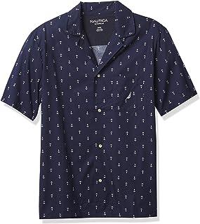 قميص بيجامة رجالي بكم قصير من نوتيكا منسوج 100% من القطن الناعم وبأزرار للأسفل