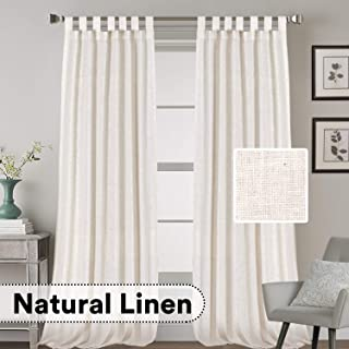 H.VERSAILTEX 2 Pack Ultra Luxurious High Woven Linen Elegant Curtain Panels Light Reducing Privacy Panels Drapes, Tab Top Curtain Set, Extra Long 52x108-Inch, Natural