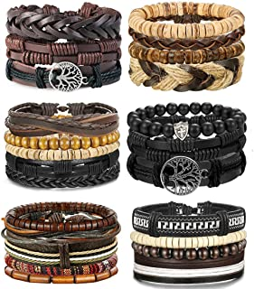 4-24 Pcs Woven Leather Bracelet for Men Women Cool...