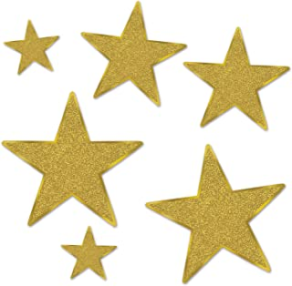Beistle 57857-GD Glittered Foil Star Cutouts (6 Pack), Assorted Sizes, Gold