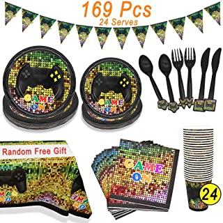 Video Game Party Supplies, Angela&Alex 169 Pcs 24 Guests Gaming of Themed Party Birthday Banner Round Plates Cups Napkins Dessert Plate Forks Knives Spoons On Supplies Decor(Random free tablecloth)