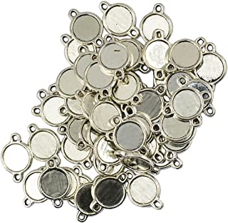IPOTCH 50Pcs Double Sided Connector Round Pendant Trays, Tibetan Silver Blank Bezel Cabochons Dome Base Setting Frame Cameo Charms Jewelry Making DIY Finding