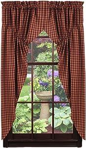 Olivia's Heartland Cambridge Wine - Burgundy Prairie Curtain Set