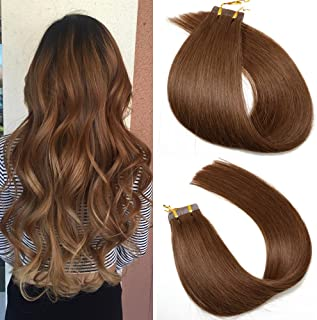Tape in Hair Extensions #4 Chocolate Brown 100% Remy Human Hair Extensions Silky Straight for Fashion Women 20 Pcs/Package...