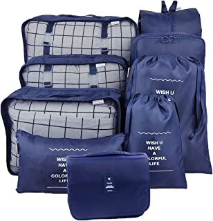 GuaziV 9 Set Packing Cubes,Travel Luggage Bags Packing Organizers Set with Hanging Toiletry Bag (Navy blue)