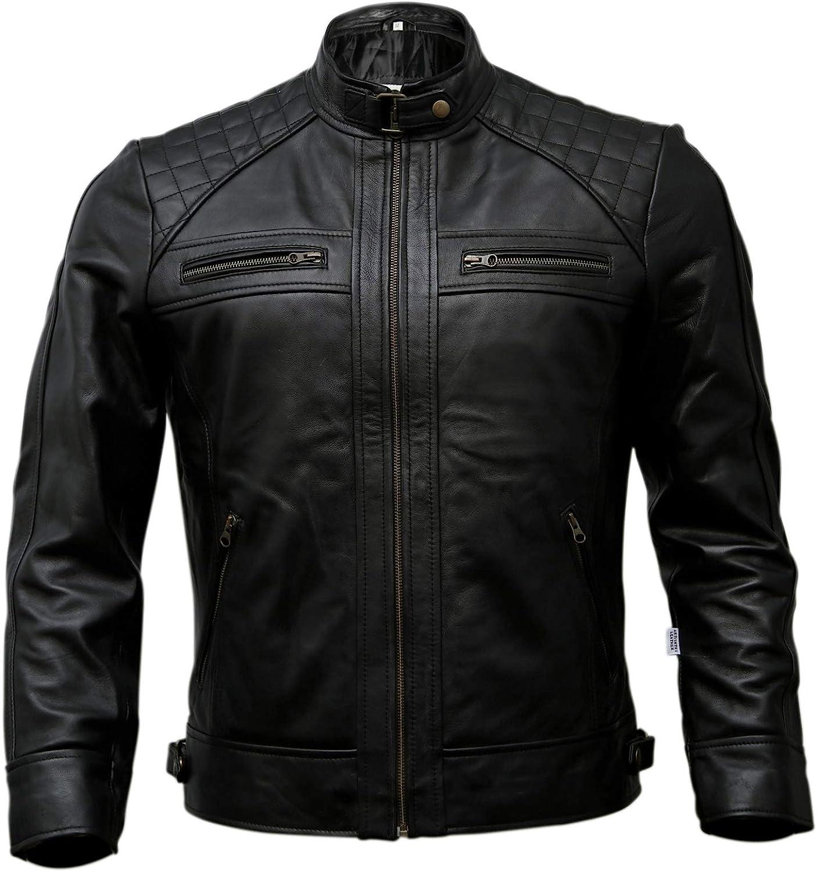 Mens Genuine Leather Biker Jacket Black | Vintage Brown Distressed Lambskin Motorcycle Jackets for Men