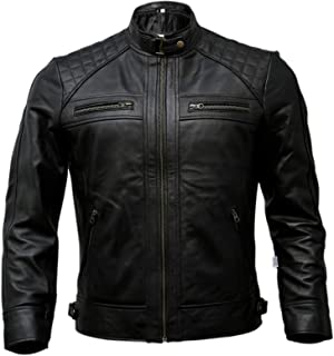 Mens Genuine Leather Biker Jacket Black | Vintage Brown Distressed Lambskin Motorcycle Jackets for Men