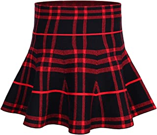 62a95b78aa storeofbaby Girls Skirt High Waist Knitted Flared Pleated Casual Skater  Skirts