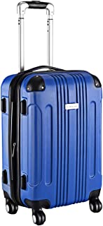 Carry On Luggage 20-inch ABS Expandable Hardside Travel Bag Trolley Suitcase GLOBALWAY (Blue)