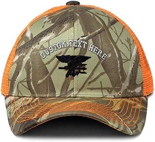 Custom Camo Mesh Trucker Hat Navy Seal Black Logo Embroidery Cotton One Size