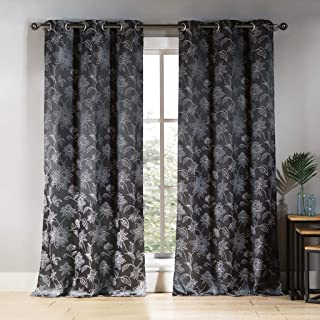 Duck River Textiles - Sansa Embroidered Floral Leaf Linen Textured Grommet Top Window Curtains for Living Room & Bedroom - Assorted Colors - Set of 2 Panels (38 X 84 Inch - Charcoal)