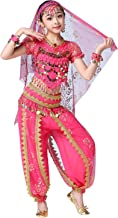 ORIDOOR India Bollywood Costume Belly Dancing Suit for Girls Women Chiffon Harem Pants Halloween Performence 5-Piece Outfit