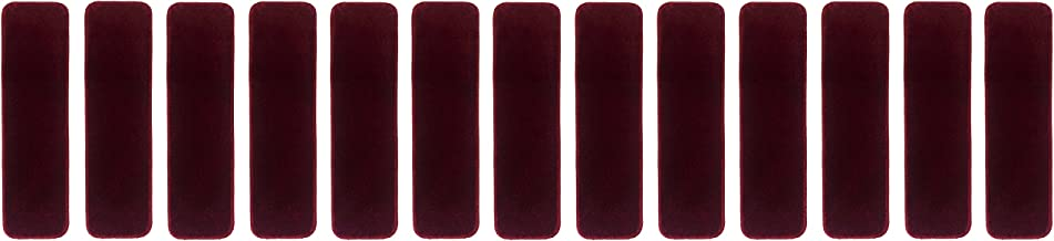 Euro Collection Stair Treads Collection Indoor Skid Slip Resistant Carpet Stair Tread 8 ½ inch x 30 inch (Set of 13, Burgundy)
