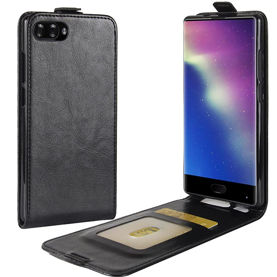 DOOGEE Mix Case,Gift_Source [Card Slot][Vertical Folio Case] Premium PU Leather Flip Holster Slim Fit Up-Down Open Protective Cover & Magnet Closure for DOOGEE Mix (5.5 inch) [Black]