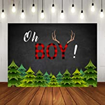 Oh Boy Lumberjack Baby Shower Photo Backdrop Rustic Buffalo Plaid Baby Shower Background Woodland Deer Birthday Party Decorations for Kids Photo Booth Props 7x5ft