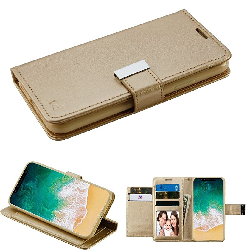 JoJoGold Case for Apple iPhone Xs (5.8 Inch) and iPhone X, 5 Slot Bicast PU Leather Flip Cover Folio Wallet Case with Magnetic Flap and Kickstand Function, Comes with Film Screen Protector - Gold