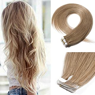 18 Inch Tape in Hair Extensions Remy Human Hair #27 Dark Blonde Long Straight Hair Seamless Skin Weft Invisible Double Sided Tape 20pc/pack 50g +10 Free Tape Bonds