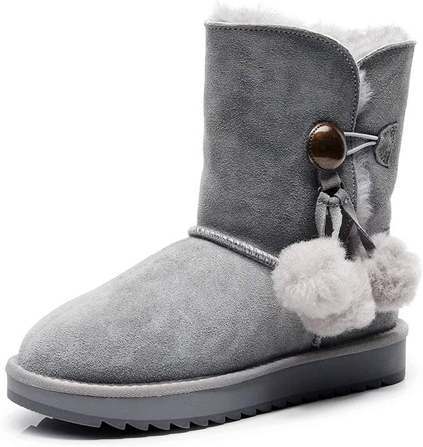 Women's Snow Boots 2018 with Flat Heel 3 Pom-pom Casual Ankle Boots Fashion Warm shoes for Fall & Winter