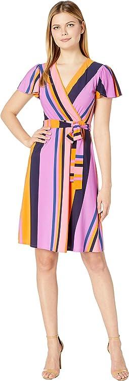 Cap Sleeve Stripe Print Wrap Dress