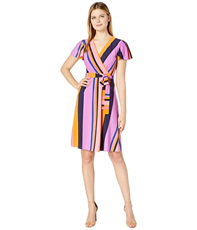 Donna Morgan Cap Sleeve Stripe Print Wrap Dress (Perry Navy Multi) Women