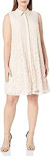 Sharagano Women's Plus Size Lace Trapeze Dress