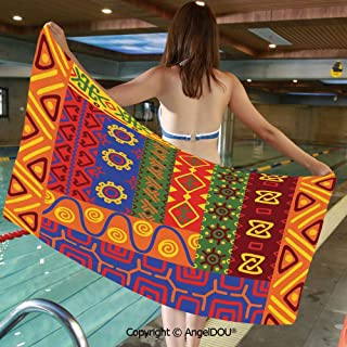 AngelDOU Soft Custom Creative Microfiber Towels Ethnic Primitive Native American Motifs with Unique Old Folkloric Elements Retro for Travel Beach Face Towel.W27.5xL55(inch)