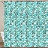 KGSPK Duschvorhang,Abstrakter Blauer Kreis-Element-Sommer,Wasserfeste Bad Vorhang aus Polyestergewebe mit 12 Haken Duschvorhang 180x180cm