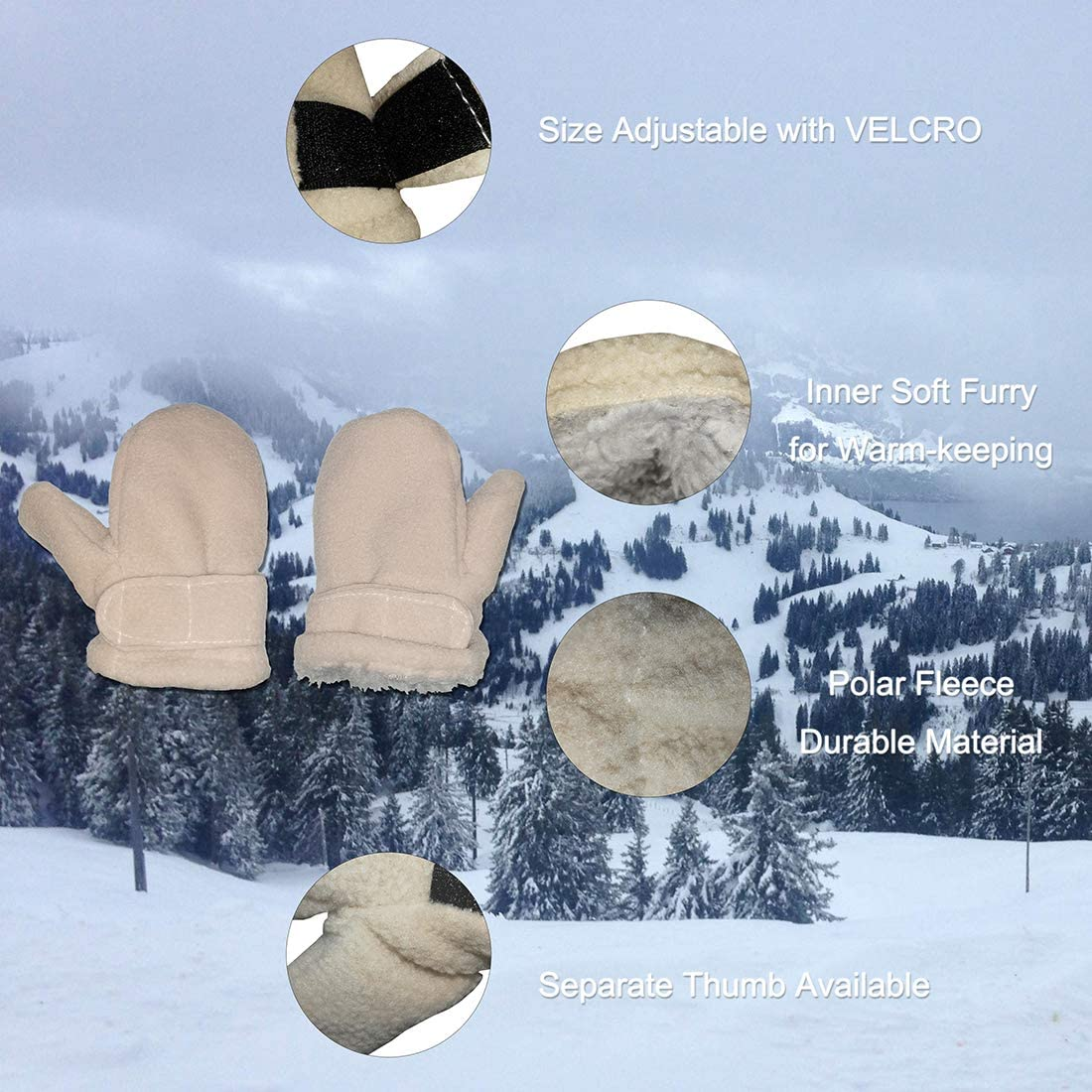 Fynnsure Toddler Mittens Baby Mitten Boys Winter Mitten Polar Fleece Sherpa Gloves Infant Warm Mittens with Hook & Loop