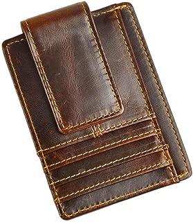 Genuine Leather Magnet Money Clip Credit Card Case Holder Slim Wallet