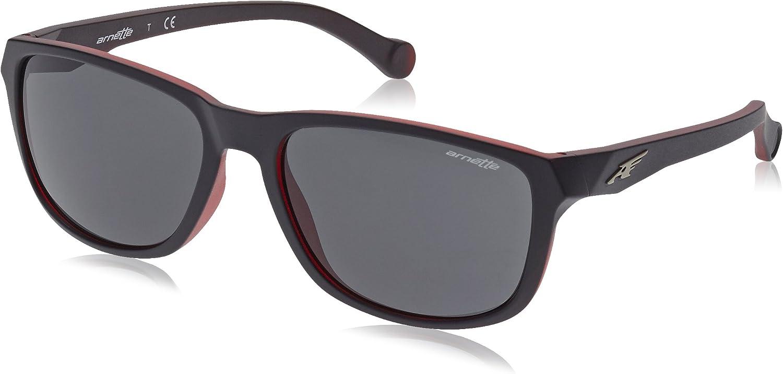 Arnette Men's Straight Cut 0AN4214 Rectangular Sunglasses, MATTE BLACK ON OPAL RED, 58 mm